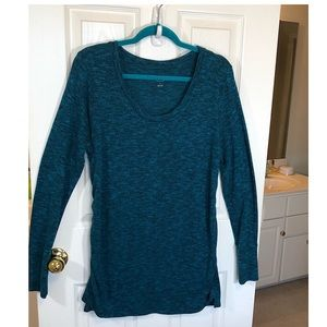 Liz Lange Blue Fitted Knit Maternity Top Shirt  XL